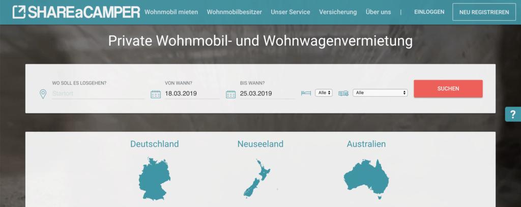 Share-a-Camper - Wohnmobil Sharing Plattform