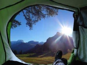 Zelt Berge Sonnenschein Landschaft