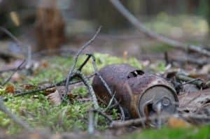Abfall im Wald, verrostete Blechdose