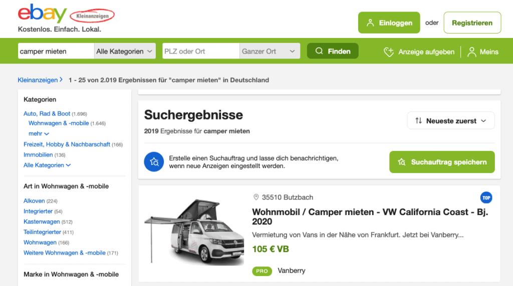 eBay Kleinanzeigen - Campervan mieten
