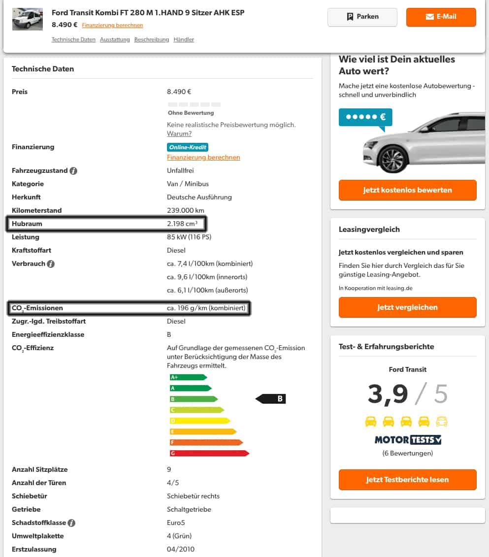 Fahrzeugdaten auf mobile.de zur Berechnung der Kfz-Steuer