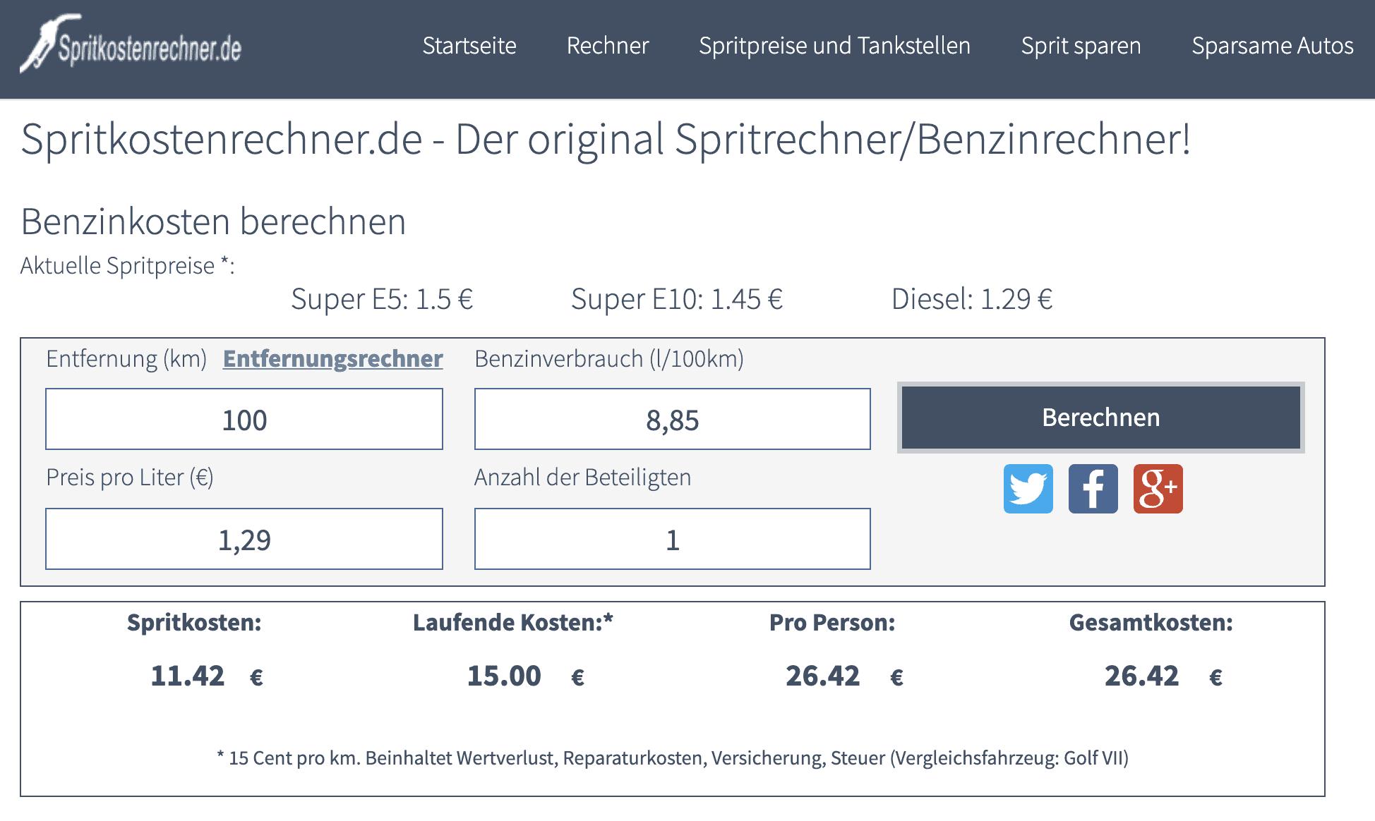 Verbrauchskosten berechnen auf Spritkostenrechner.de