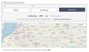 Entfernung berechnen auf Spritkostenrechner.de