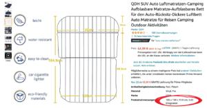 Auto Kofferraum Matratze relevante Breite zum Schlafen auf Amazon finden